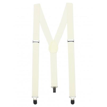 Elastic Band Suspenders in Champagne Cream