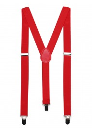 Mens Suspenders in Bright Red