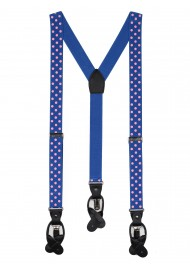 royal blue suspenders with pink polka dots