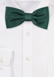 Satin Bow Tie in Hunter Green