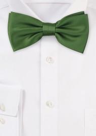 Moss Green Satin Bow Tie
