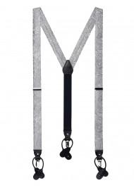 Festive Silver Paisley Suspenders
