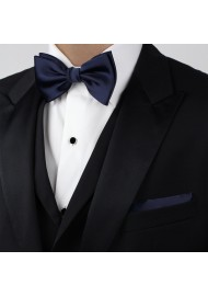 Dark Blue Bow Tie in Solid Color Styled with Tux Suit