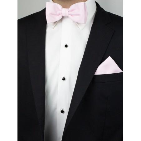 Linen Texture BowTie Set in Blush Styled on Tux Jacket