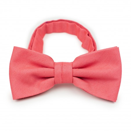Linen Textured Bow Tie in Coral