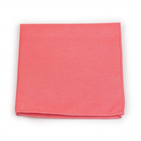 Linen Textured Pocket Square in Coral