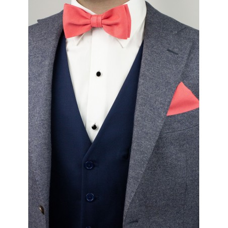 Linen Textured Bow Tie Set in Coral Styled with Suit Jacket