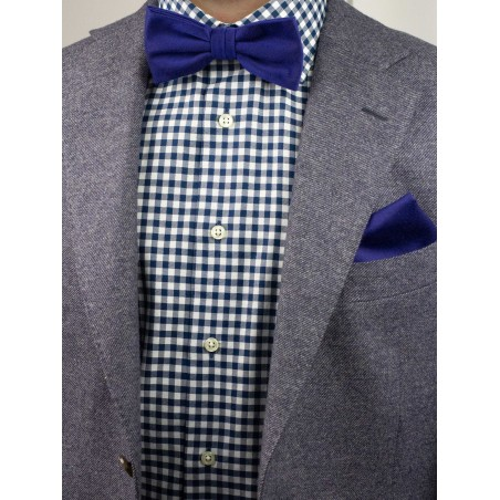 Matte Mens Bow Tie Set in Ultramarine Styled