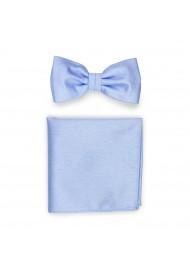 Pastel Blue Bowtie Set in Linen Texture