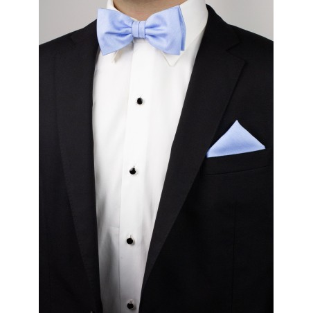 Pastel Blue Bowtie Set in Linen Texture Styled with Tux Jacket