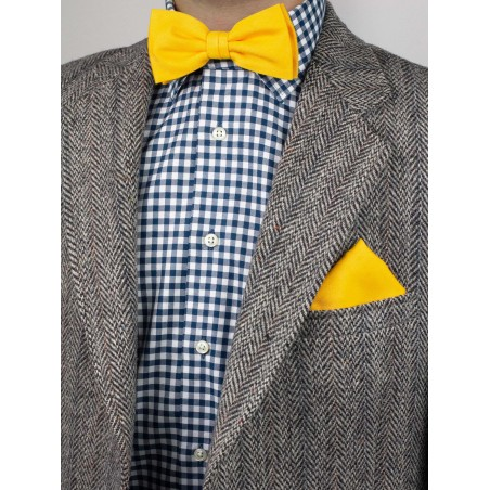 Mens Bow Tie Set in Marigold Yellow