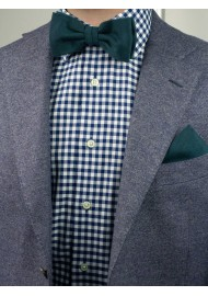 Forest Green Bow Tie Set Styled