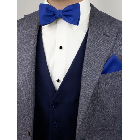 Marine Blue Bow Tie and Pocket Square Set Styled