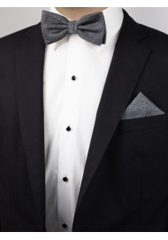 Charcoal Bow Tie and Pocket Square Set Styled