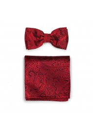 Mens Paisley Bow Tie and Pocket Square Set in Ruby