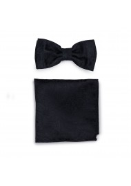 Paisley Mens Bow Tie and Pocket Square Set in Black