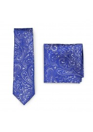 Formal Summer Paisley Tie in Morning Glory Blue with Pocket Square