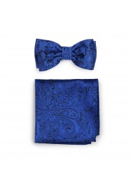 Pre-Tied Paisley Bow Tie in Royal Blue with matching Pocket Square