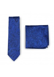 Mens Wedding Paisley Tie in Royal with matching Pocket Square