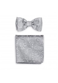 Dressy Paisley Bow Tie and Pocket Square Combo Set in Silver