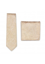 Mens Paisley Tie Set in Golden Champagne