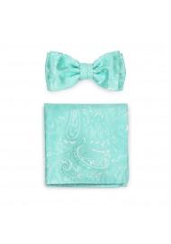 Woven Paisley Bow Tie Set in Aqua