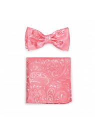Wedding Paisley Bow Tie Set in Coral