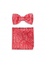 Woven Paisley Bow Tie and Pocket Square Set in Poppy Red