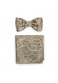 Golden Bronze Paisley Bow Tie and Pocket Square Set