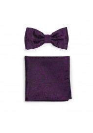 Mens Paisley Bow Tie and Hanky in Berry