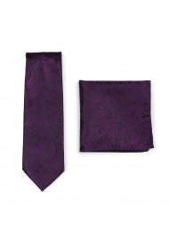 Paisley Necktie and Pocket Square in Berry