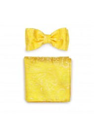 Canary Color Paisley Bowtie and Pocket Square Combo Set
