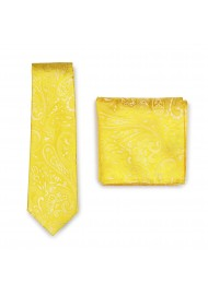 Canary Yellow Paisley Necktie and matching Pocket Square