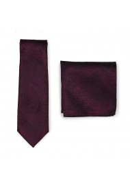 Claret Burgundy Red Paisley Tie and Hanky Set