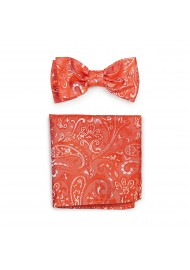 Tiger Lilly Colored Mens Bow Tie and Pocket Square Set