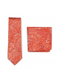 Tiger Lilly Orange Paisley Tie and Pocket Square Set
