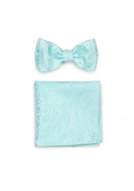 Dressy Summer Bow Tie and Hanky Set in Robins Egg Blue