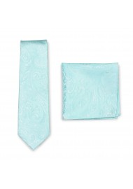 Paisley Tie and Pocket Square Combo Set in Robins Egg Blue