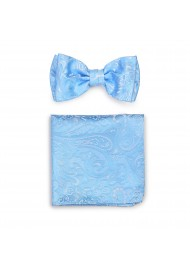 Dressy Wedding Bow Tie and Pocket Square Sets in Blue Jay