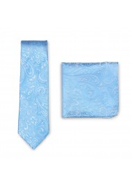 Formal Woven Paisley Tie and Pocket Square Combo Set in Blue Jay Color