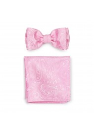 Bright Carnation Pink Mens Bow Tie and Pocket Square Hanky Set