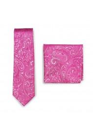 Dragon Fruit Color Paisley Necktie and Pocket Square Combo Set