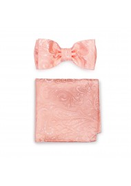 Woven Paisley Bow Tie and Pocket Square in Bellini