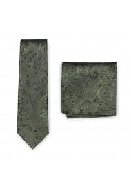 Elegant Paisley Necktie in Moss and Handkerchief Set