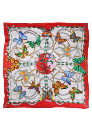 Colorful Designer Print Scarf with Flying Butterflies