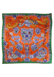 Native American Design Print Scarf in Burnt Orange and Green