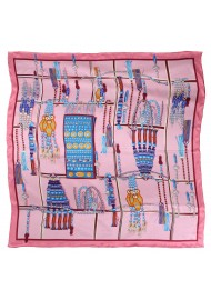 Pink Ladies Scarf with Turquoise Tribal Pink