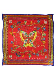 Red Silk Scarf with Gold and Blue Design Accents