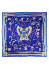 Rich Blue Ladies Silk Scarf with Golden Designer Print