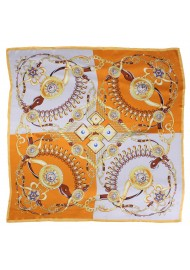 Tangerine and Gold Satin Silk Ladies Scarf